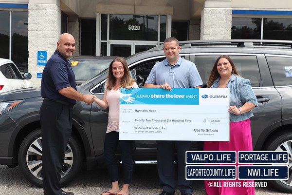 Hannah's Hope Check Presentation from Castle Subaru 2019
