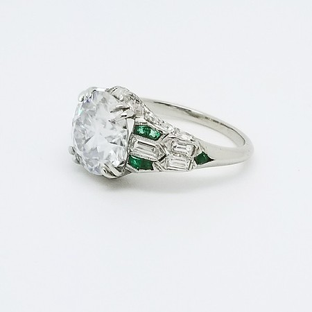 9mm OEC Moissanite in Antique Emerald and Diamond Setting