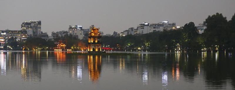 Hoàn Kiếm Lake, Hanoi at dusk.