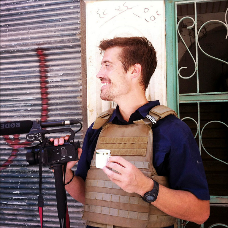 . This photo posted on the website freejamesfoley.org shows journalist James Foley in Aleppo, Syria, in July, 2012.   (AP Photo/Nicole Tung, freejamesfoley.org)