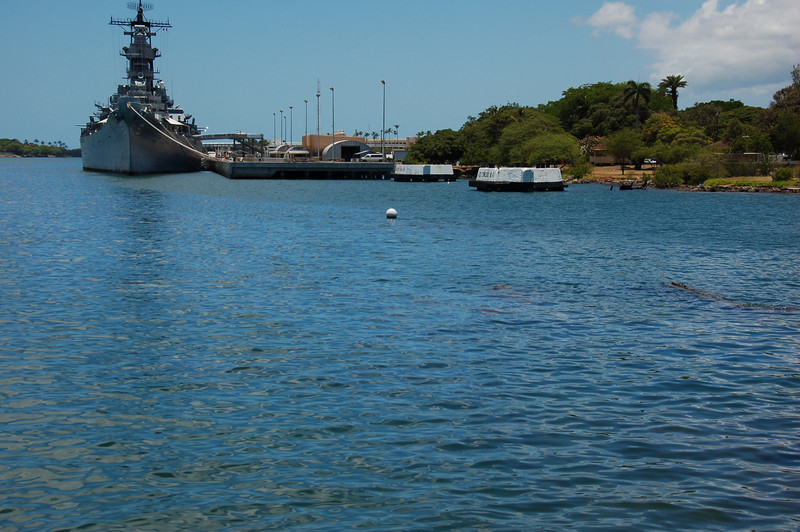 USS Arizona memorial with the USS Missouri moored in the background