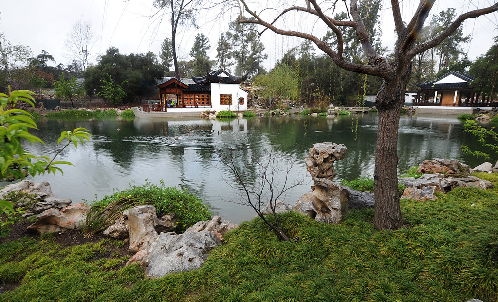 . View of Waveless Boat pavilion, left and Clear and Transcendent pavilion in the Chinese Garden Friday, February 28, 2014 at The Huntington in San Marino. (Photo by Walt Mancini/Pasadena Star-News)