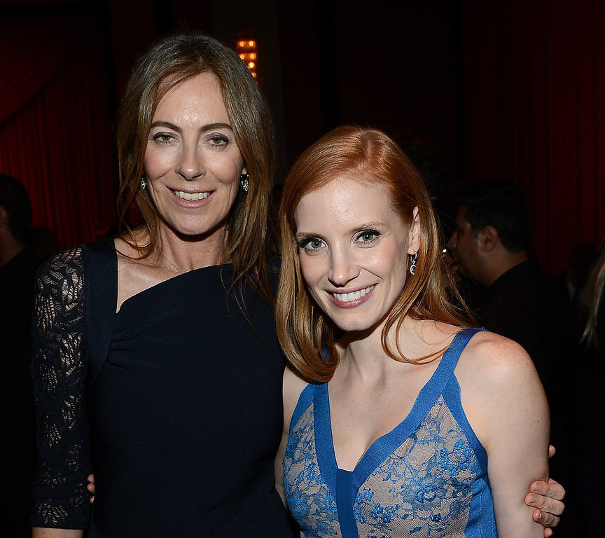 ". Director Kathryn Bigelow (L) and actress Jessica Chastain attend the after party for the premiere of Columbia Pictures\' ""Zero Dark Thirty\"" at the Dolby Theatre on December 10, 2012 in Hollywood, California.  (Photo by Michael Buckner/Getty Images)"