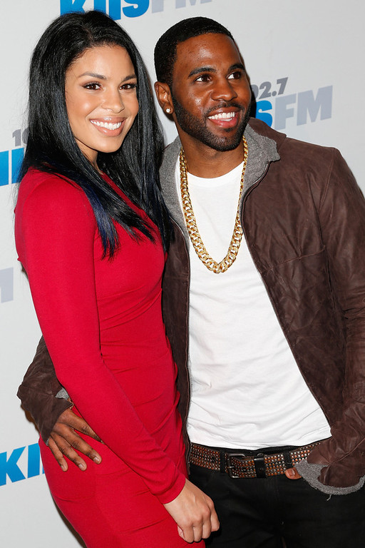 . Singers Jordin Sparks (L) and Jason Derulo attend KIIS FM\'s 2012 Jingle Ball at Nokia Theatre L.A. Live on December 3, 2012 in Los Angeles, California.  (Photo by Imeh Akpanudosen/Getty Images)