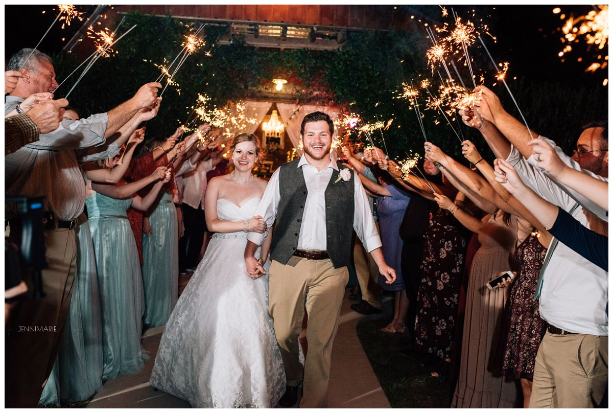 wedding at the barn at blueberry hill with sparkler exit