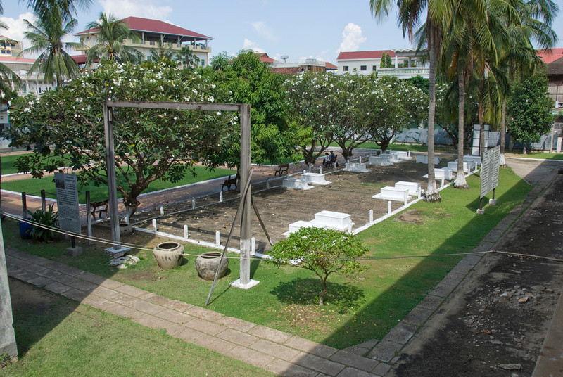 Gallows and courtyard outside the Toule Seng Prison in Phnom Penh, Cambodia