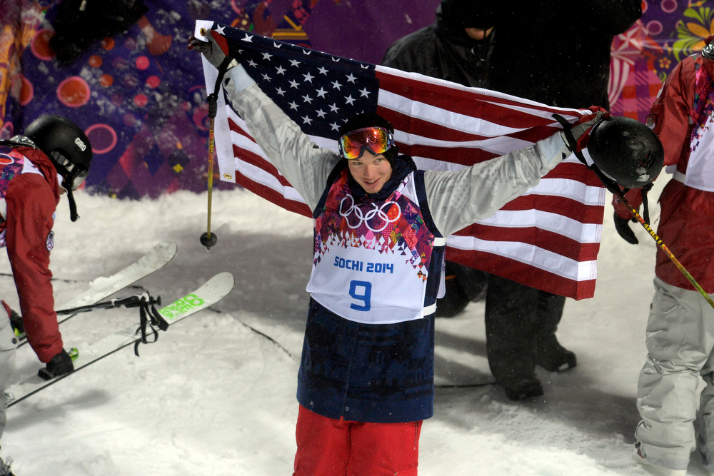 . Gold medalist David Wise holds an American flag upon winning the men\'s ski halfpipe final. Sochi 2014 Winter Olympics on Tuesday, February 18, 2014. (Photo by AAron Ontiveroz/The Denver Post)