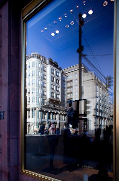 Reflection on a shop window, Friedrichstasse, Berlin, Germany
