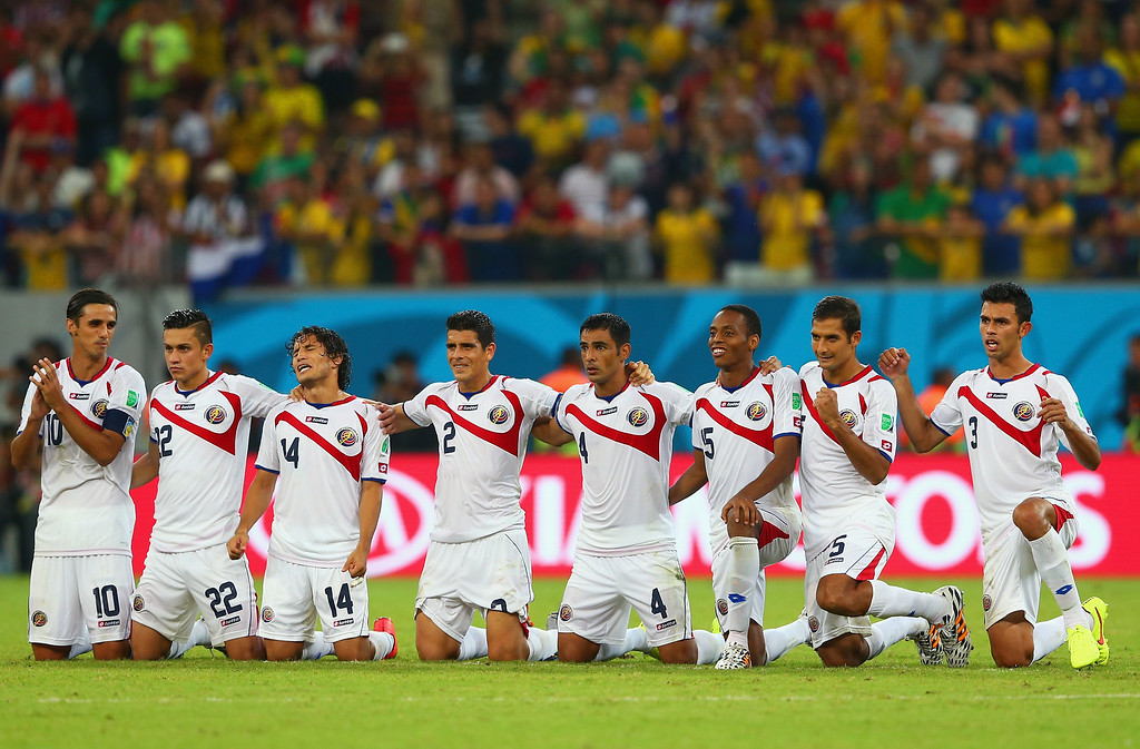 . (L-R) Bryan Ruiz, Jose Miguel Cubero,Randall Brenes,Joel Campbell, Johnny Acosta,Michael Umana,Giancarlo Gonzalez and Junior Diaz of Costa Rica look on during a penalty shootout during the 2014 FIFA World Cup Brazil Round of 16 match between Costa Rica and Greece at Arena Pernambuco on June 29, 2014 in Recife, Brazil.  (Photo by Quinn Rooney/Getty Images)