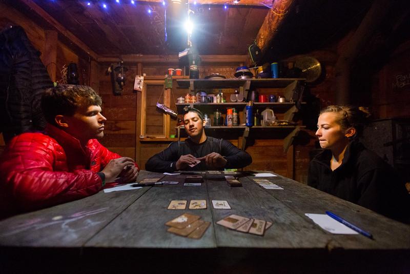 Card games inside Grayback Mt Shelter