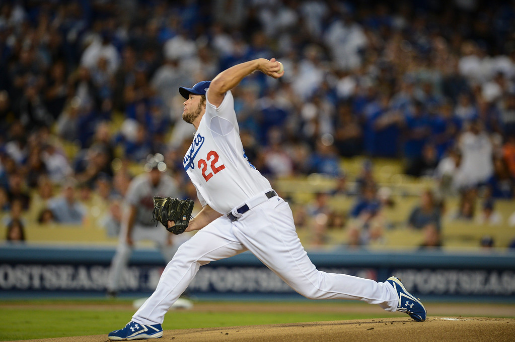 . Dodgers\' Clayton Kershaw pitches after a short rest in game 4 against Atlanta  Monday, October 7, 2013 ( Photo by Hans Gutknecht/Los Angeles Daily News )