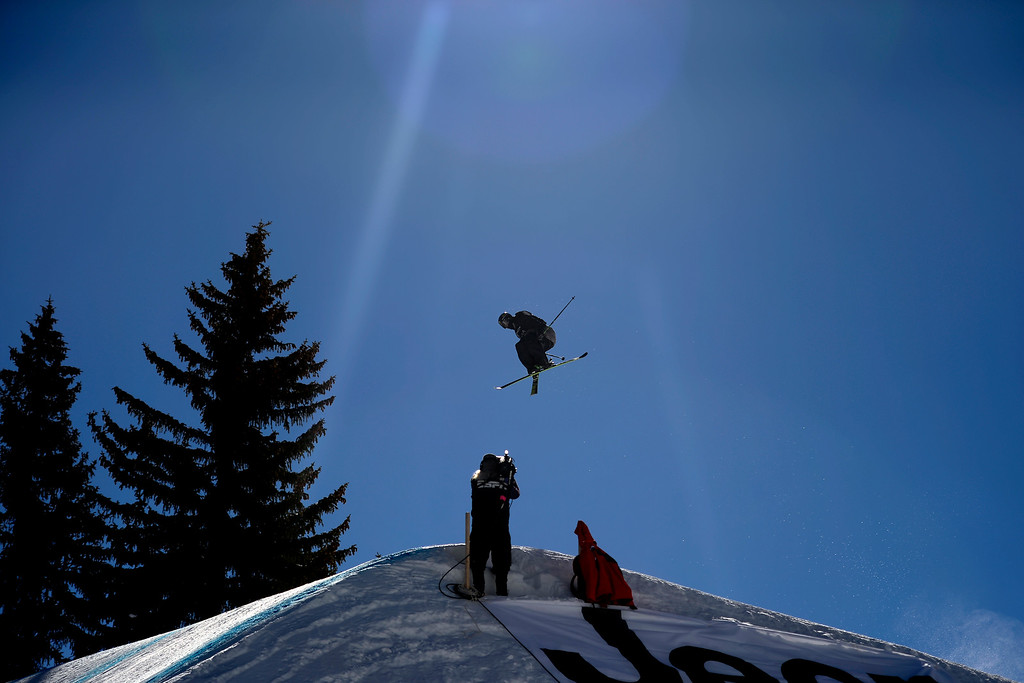 . Joss Christensen rides during the men\'s ski slopestyle final. X Games Aspen at Buttermilk on Friday, January 25, 2014. (Photo by AAron Ontiveroz/The Denver Post)