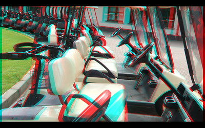 Golf Carts of Woodlans Golf Course  in Anaglyph Stereo