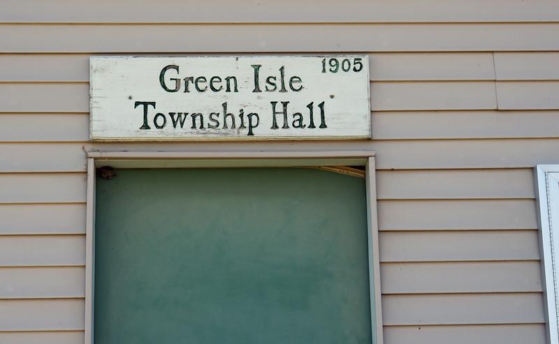 Green Isle Township Hall doorway sign