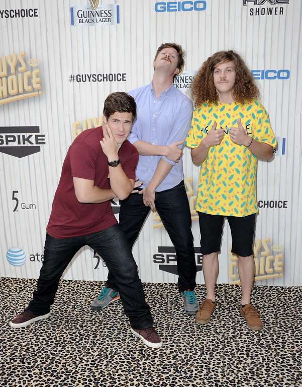 . From left, Adam DeVine, Anders Holm and Blake Anderson arrive at Spike TV\'s Guys Choice Awards at Sony Pictures Studios on Saturday, June 8, 2013, in Culver City, Calif. (Photo by Richard Shotwell/Invision/AP)
