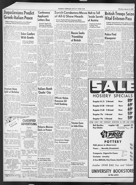 Daily Trojan, Vol. 32, No. 92, March 03, 1941