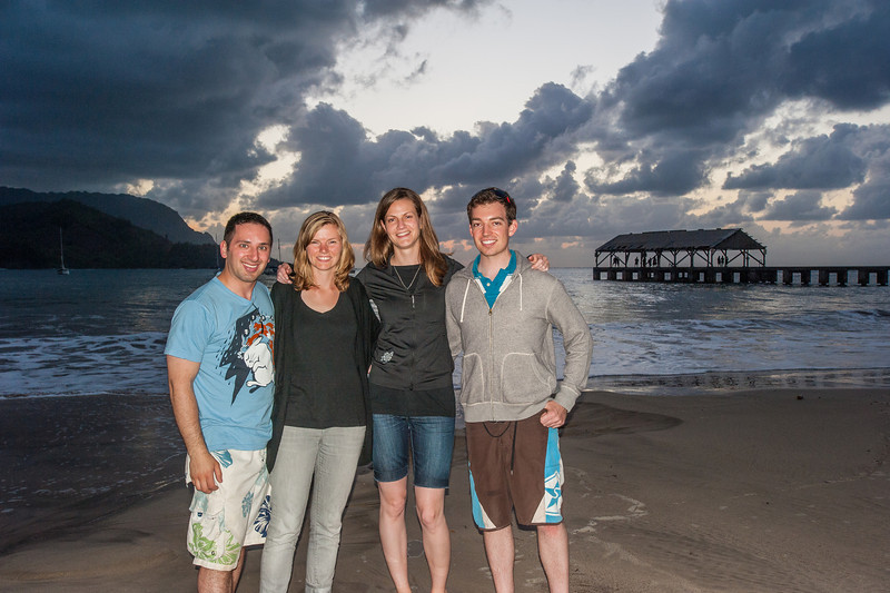 The 4 of us in Hanalei Bay