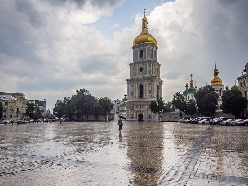 Rain Outside St Sophias Cathedral, Kiev, Ukraine