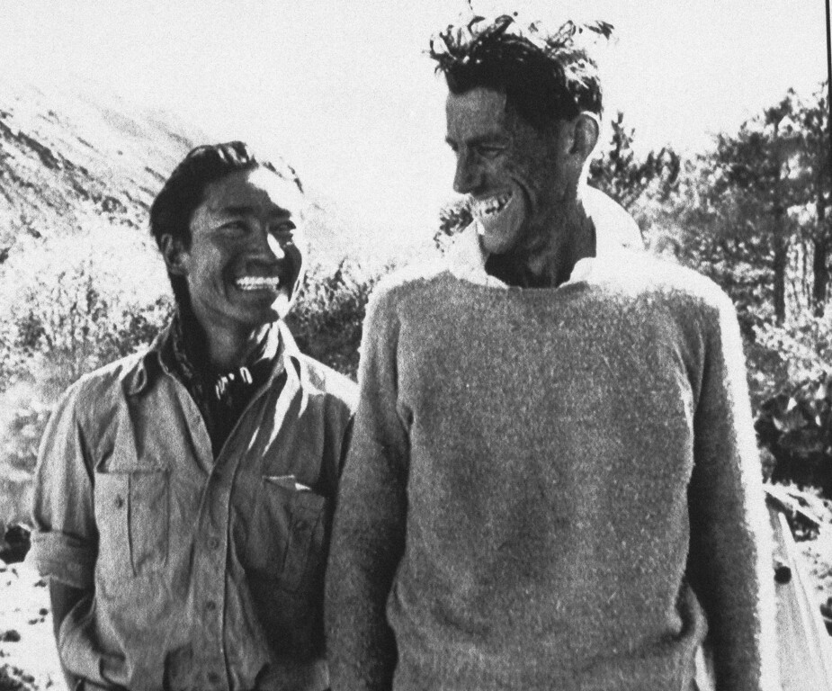 . Sherpa Tensing Norgay who died in Indian city of Darjeeling aged 72, is pictured, with Sir Edmund Hillary, on May 9, 1986, after their successful attempt to climb Everest. (AP Photo)