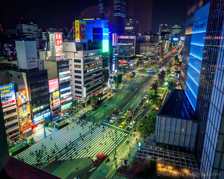 Central Tokyo street, night.