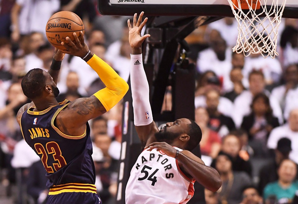 . Cleveland Cavaliers forward LeBron James (23) shoots over Toronto Raptors forward Patrick Patterson (54) during the first half of Game 3 of an NBA basketball second-round playoff series in Toronto on Friday, May 5, 2017. (Frank Gunn/The Canadian Press via AP)