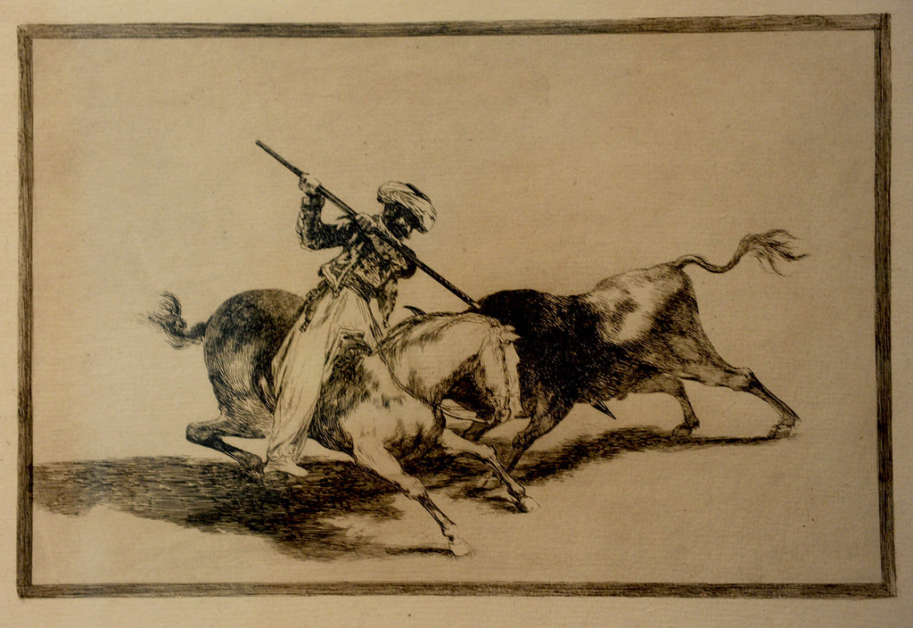 ". Goya\'s ""The Spirited Moor Gazul is the First to Spear Bulls According to Rules, 1816 First edition Etching, burnished acquatint and drypoint"