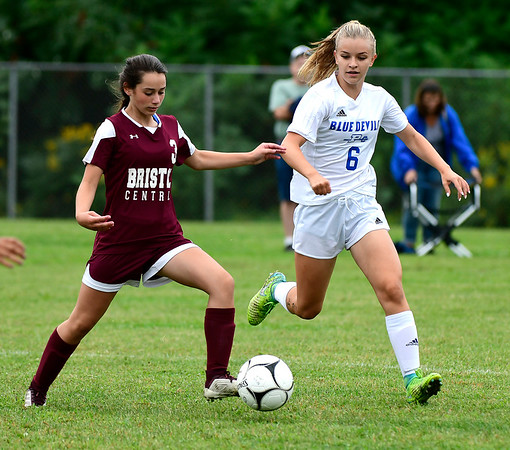 9/7/2018 Mike Orazzi | Staff Bristol Central's Hannah Aldieri (3) and Plainville's Courtney Ouellette (6) during Friday's soccer at BC.