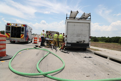 Melissa, TX. Box truck rear ends gravel hauler Hwy. 121 6/20