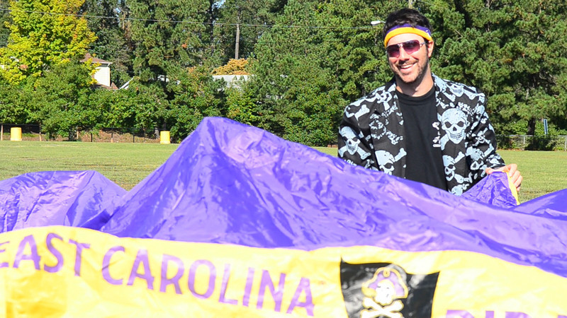 10/1/2011 ECU vs North Carolina  Preston setting up the tent