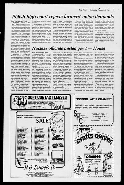 Daily Trojan, Vol. 90, No. 6, February 11, 1981