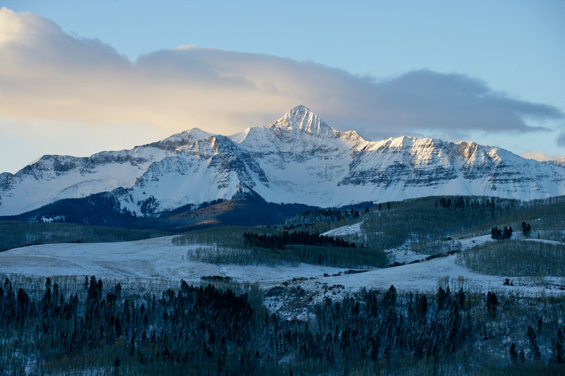 Mount Wilson at sunrise on a cold winter morning near Telluride, Colorado.