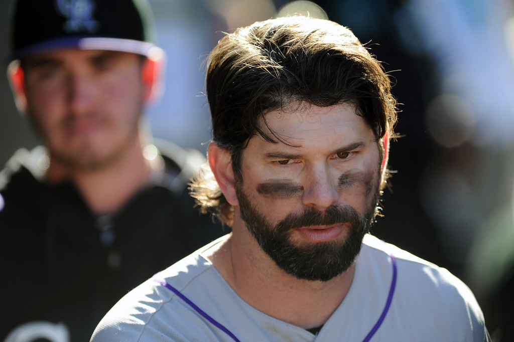 . Colorado Rockies\' Todd Helton in his last game Sunday, September 29, 2013, at Dodger Stadium. (Photo by Michael Owen Baker/L.A. Daily News)