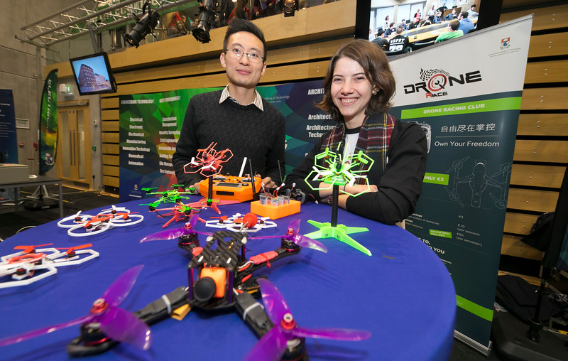 FREE TO USE IMAGE. Pictured at WIT's Autumn Open Days in the WIT Arena are Ana Cian Cai and Lucia Lara from WIT Drone Racing. Picture: Patrick Browne  WIT's Autumn Open Days in the WIT Arena were on Friday, 23 November and Saturday, 24 November 2018. The Schools Open Day on Friday attracted thousands of secondary school students.  The event focused on undergraduate entry for September 2019 but also showcases the opportunities for postgraduate learning and research and flexible study through our School of Lifelong Learning & Education.  The institute has 70 CAO courses across a range of discipines including,business,engineering and architecture, sports and nursing, law, social sciences, arts and psychology, the creative & performing arts, languages, tourism and hospitality, science and computing.   WIT's Autumn Open Days included presentations on all CAO courses, including new courses for 2019, as well as the opportunity to experience what it would be like to study on those courses and talk to lecturers directly.