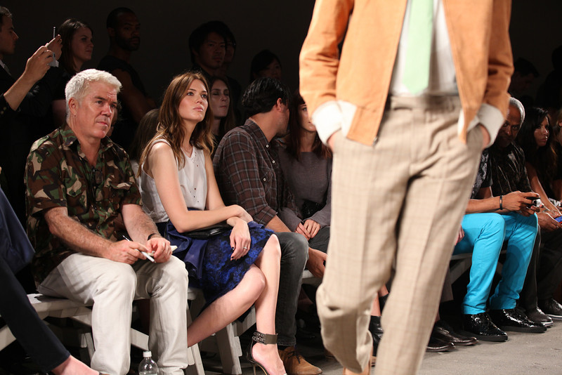 NEW YORK, NY - SEPTEMBER 07:  Editor-at-large of Style.com Tim Blanks (L) and actress / singer Mandy Moore attend Billy Reid's spring 2013 fashion show during Mercedes-Benz Fashion Week at Eyebeam on September 7, 2012 in New York City.  (Photo by Chelsea Lauren/Getty Images)