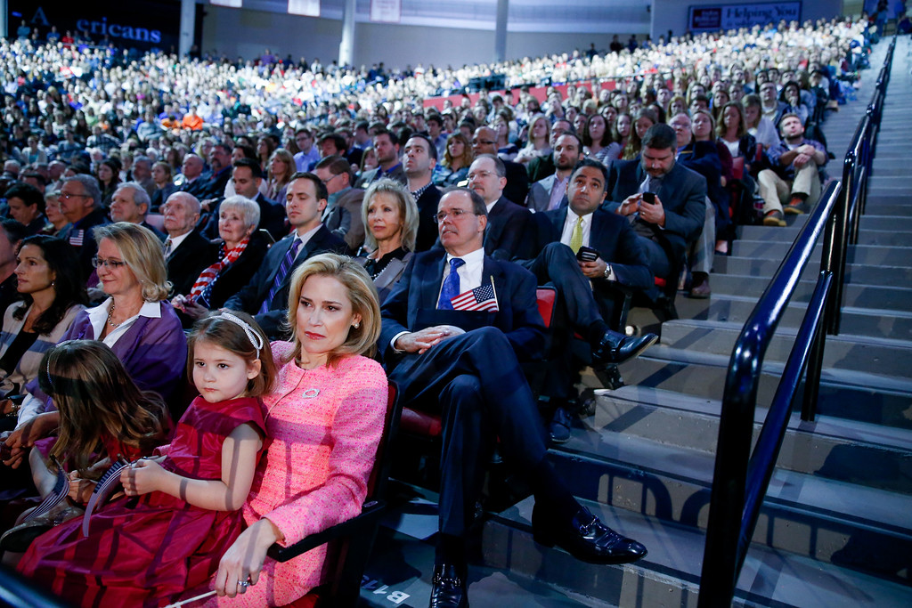 . Heidi Cruz, front right, sits with her daughter Catherine, 4, as her husband Sen. Ted Cruz, R-Texas, announces his campaign for president, Monday, March 23, 2015, at Liberty University, founded by the late Rev. Jerry Falwell, in Lynchburg, Va. Cruz, who announced his candidacy on twitter in the early morning hours, is the first major candidate in the 2016 race for president. (AP Photo/Andrew Harnik)