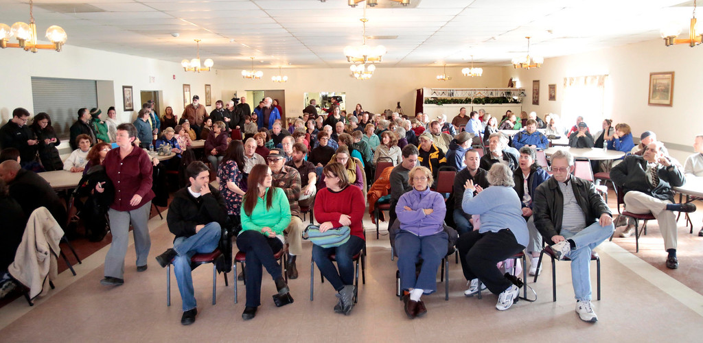 . Hospital workers and community members fill the American Legion in North Adams for an emergency community meeting in the attempt to come up with a plan to save North Adams Regional Hospital after its sudden announcement Tuesday that it will close its doors for good on Friday morning. Wednesday, March 26, 2014. Stephanie Zollshan / Berkshire Eagle Staff / photos.berkshireeagle.com