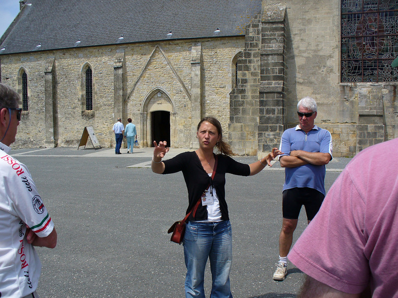 Our historic guide (Lucy) at Ste Mere Eglise