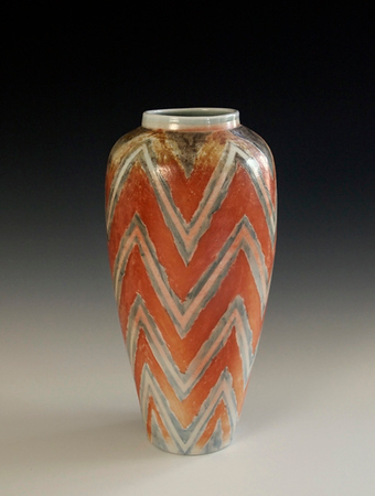 "Zig Zag Vase 10 1/2"" x 5 1/4"" x 5 1/4"" - Porcelain with Slip Decoration Wood-Fired Cone 10"