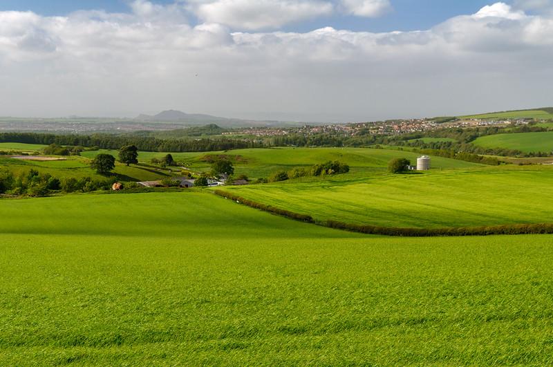 Edinburgh skyline and Lothian countryside
