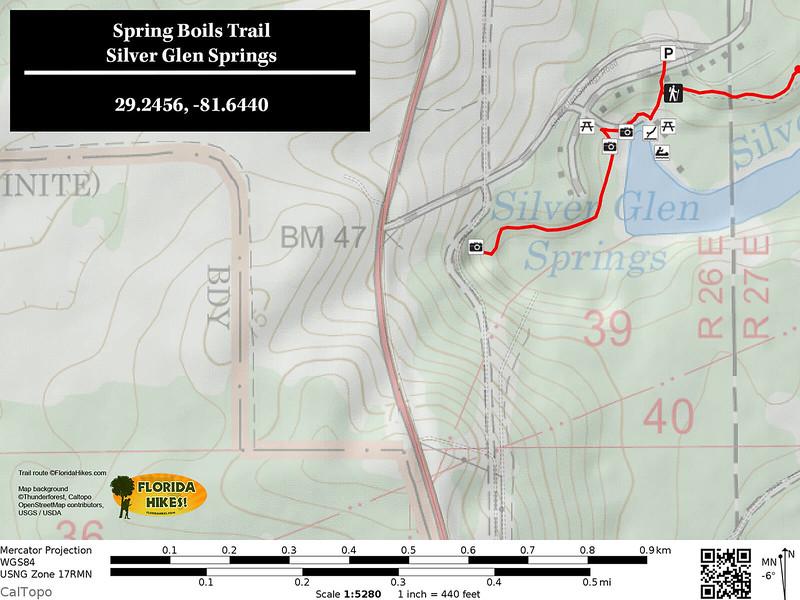 Silver Glen Spring Boils Trail Map