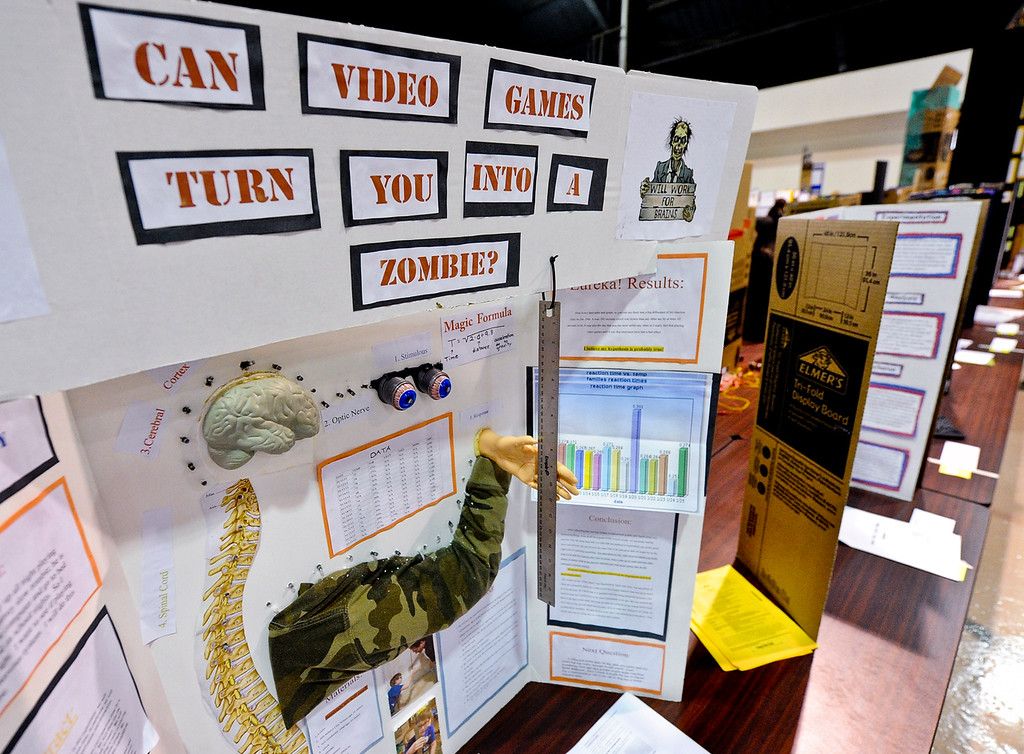 . Nearly 800 project are displayed at a science fair hosted at the National Orange Show Events Center in San Bernardino on Tuesday, April 2, 2013. Approximately 940 students from the San Bernardino, Riverside and Inyo counties participated in the event. (Rachel Luna / Staff Photographer)