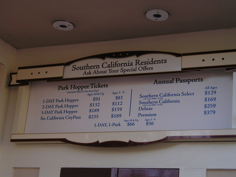 Prices for Disneyland Resort at the door. Although we'd have thought that everyone had access to discounted tickets through AAA, Costco, or online, there were still longish lines every day.