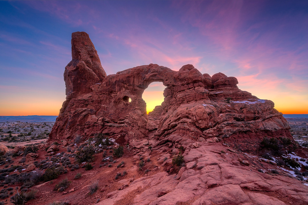 sunsets from utah turret arch