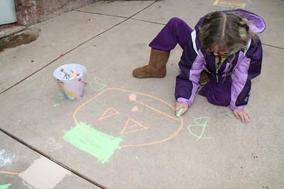 Young Girl Chalking Sidewalk, Mauch Chunk St, Tamaqua (10-22-2011)