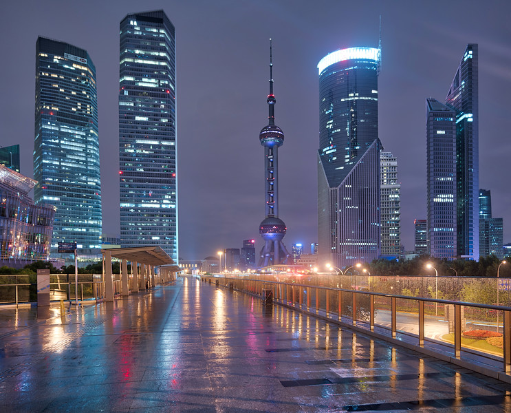 Wet Pudong at Night