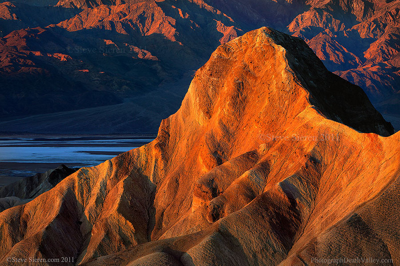 Close up view of Manly Beacon in Death Valley.  The badlands at Zabriskie Point are an old lake bottom that has risen into what you hear as a result of volcanic activity in Death Valley.