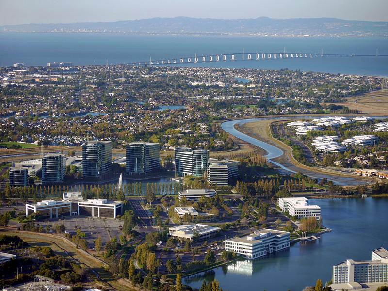 Oracle buildings, Redwood Shores, CA. San Mateo bridge in the background.