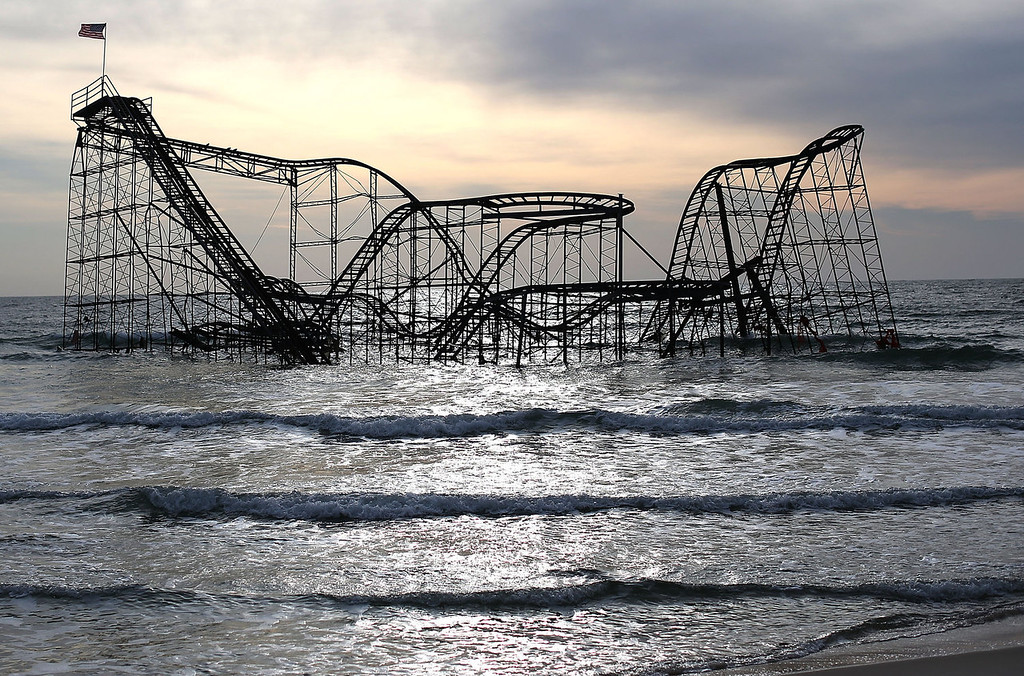 . The Star Jet roller coaster remains in the water after the Casion Pier it sat on collapsed from the forces of Superstorm Sandy, February 19, 2013 in Seaside Heights, New Jersey. Governor Chris Christie has estimated that damage in New Jersey caused by Superstorm Sandy could reach $37 billion.  (Photo by Mark Wilson/Getty Images)