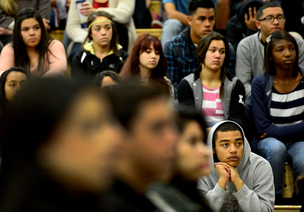 . Students listen to motivational speaker Keith Hawkins  at Santa Fe High School Tuesday morning, March 19, 2013 as the Santa Fe Springs school holds their 23rd annual Diversity Summit this week. (SGVN/Staff Photo by Sarah Reingewirtz)
