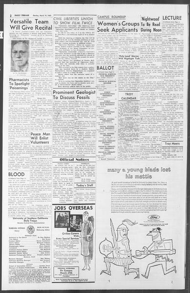 Daily Trojan, Vol. 53, No. 91, March 19, 1962